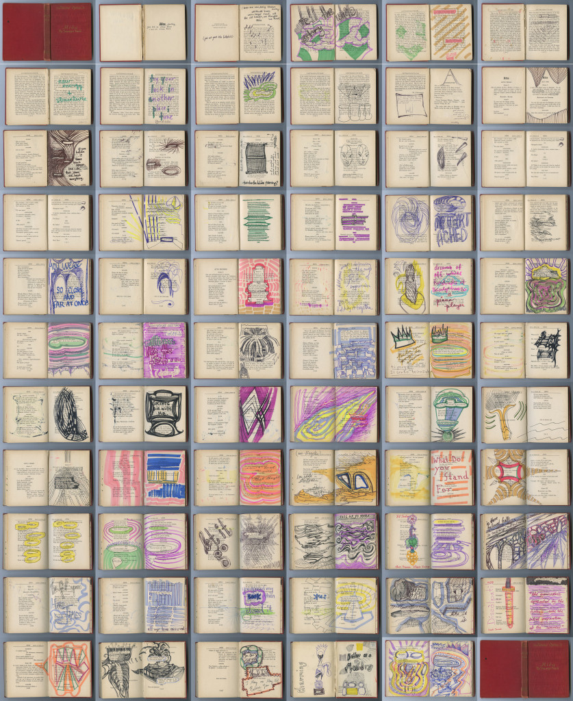 2010-2014 Mixed media on book pages, dimensions variable