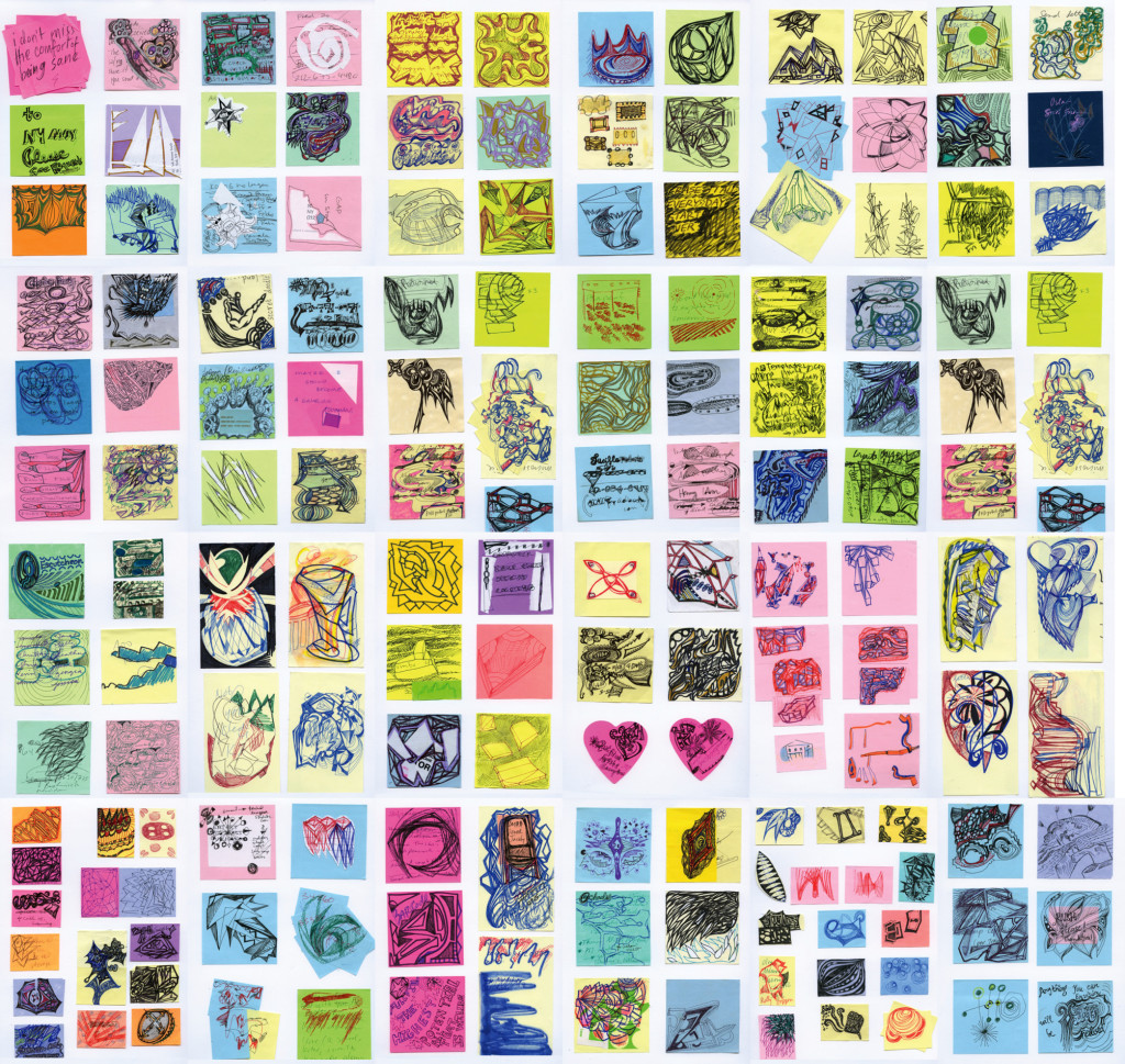 Mixed media on post-its, dimensions variable 2001-2014